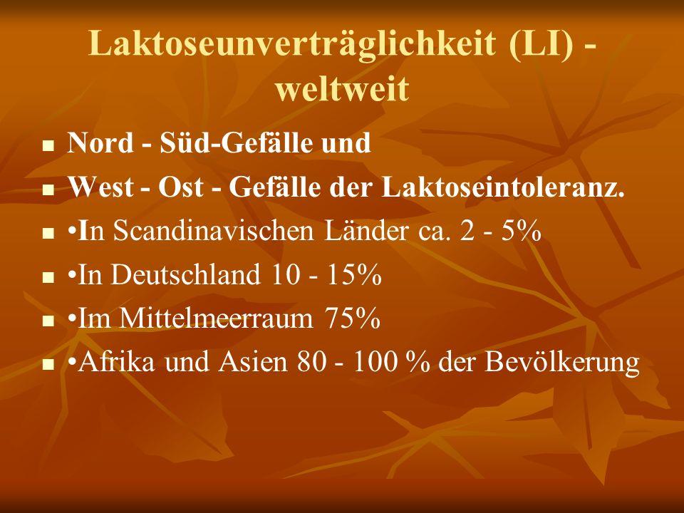 Laktoseunverträglichkeit (LI) - weltweit Nord - Süd-Gefälle und West - Ost - Gefälle der Laktoseintoleranz.