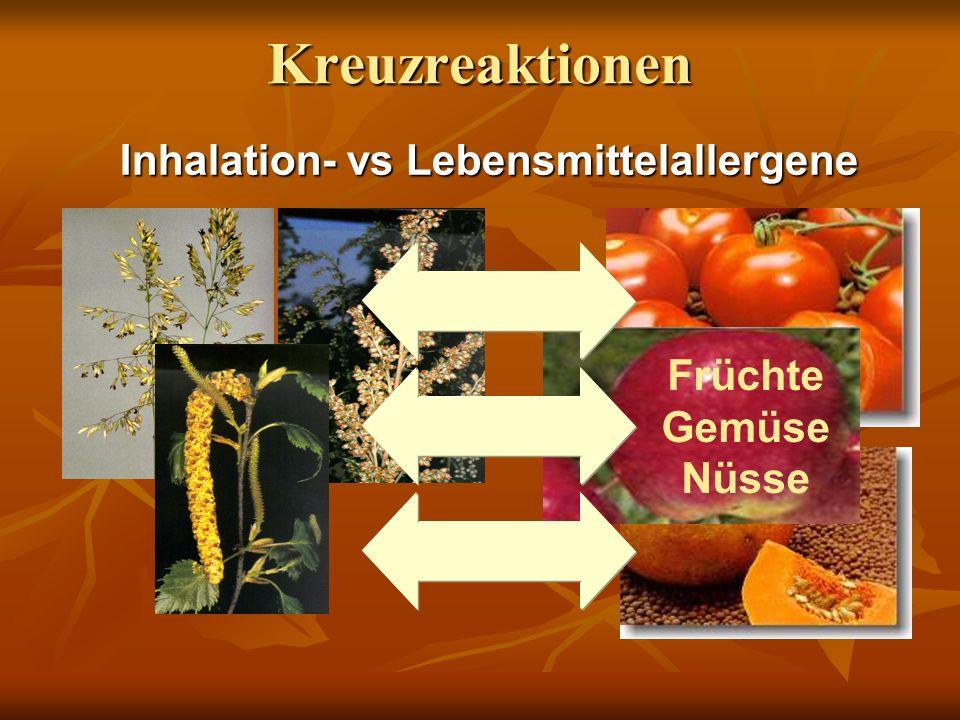 Kreuzreaktionen Inhalation- vs Lebensmittelallergene Früchte Gemüse Nüsse