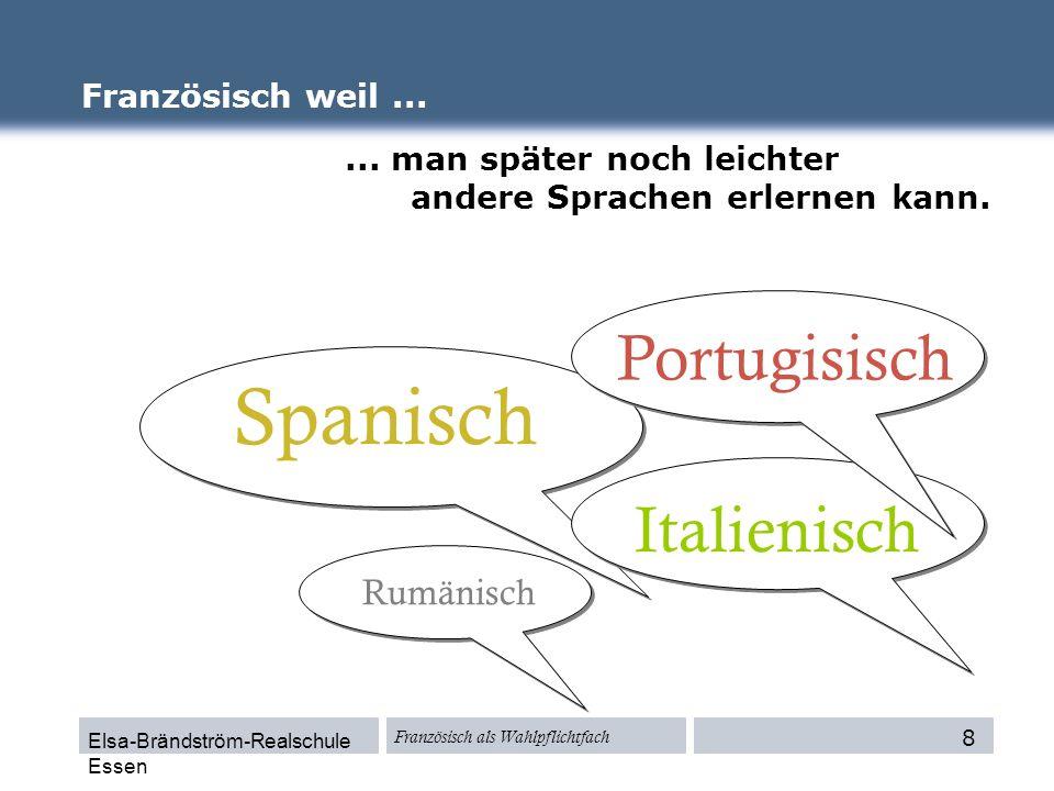 Elsa-Brändström-Realschule Essen Französisch als Wahlpflichtfach Portugisisch Französisch weil...... man später noch leichter andere Sprachen erlernen