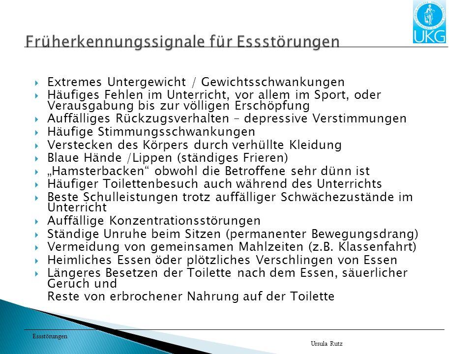 Essstörungen Ursula Rutz 1.Durch den Essanfall werden unerträgliche affektive Spannungen abgebaut (Essen als Trost, Beruhigung, Ersatzbefriedigung).