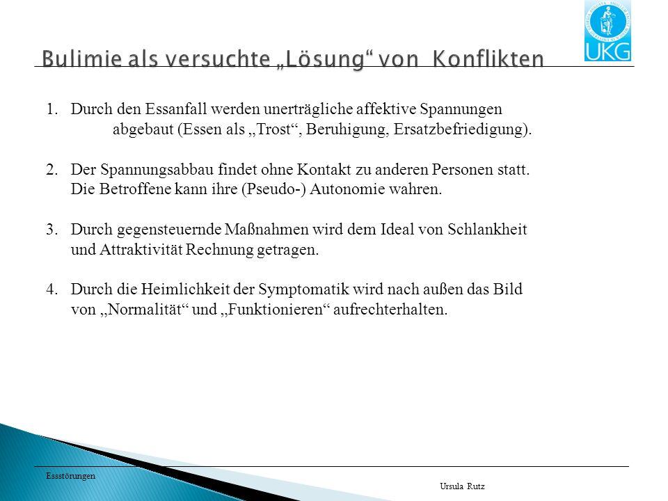 Essstörungen Ursula Rutz 1.Durch den Essanfall werden unerträgliche affektive Spannungen abgebaut (Essen als Trost, Beruhigung, Ersatzbefriedigung). 2