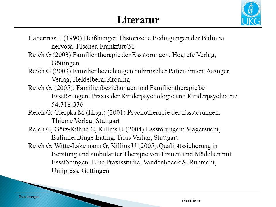 Essstörungen Ursula Rutz Literatur Habermas T (1990) Heißhunger. Historische Bedingungen der Bulimia nervosa. Fischer, Frankfurt/M. Reich G (2003) Fam