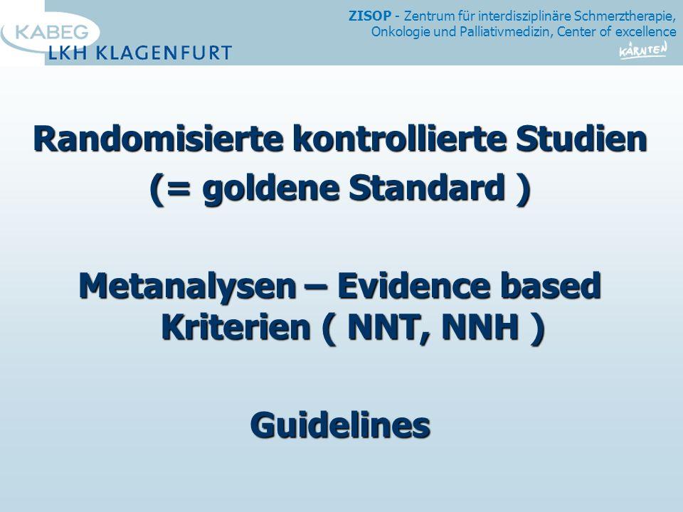 ZISOP - Zentrum für interdisziplinäre Schmerztherapie, Onkologie und Palliativmedizin, Center of excellence Randomisierte kontrollierte Studien (= goldene Standard ) Metanalysen – Evidence based Kriterien ( NNT, NNH ) Guidelines