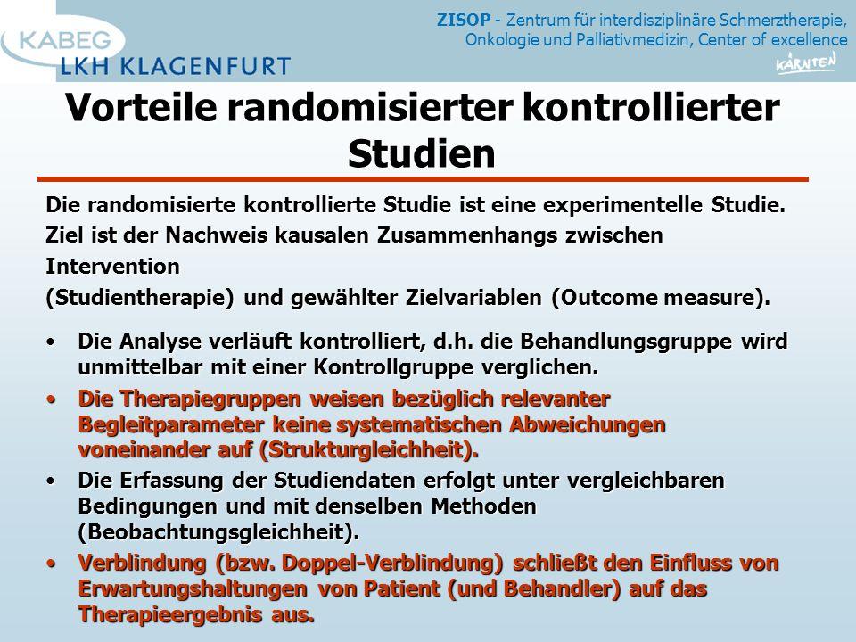 ZISOP - Zentrum für interdisziplinäre Schmerztherapie, Onkologie und Palliativmedizin, Center of excellence Vorteile randomisierter kontrollierter Studien Die randomisierte kontrollierte Studie ist eine experimentelle Studie.