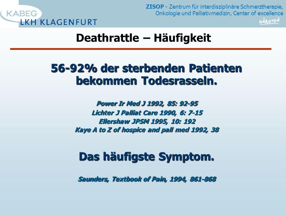 ZISOP - Zentrum für interdisziplinäre Schmerztherapie, Onkologie und Palliativmedizin, Center of excellence 56-92% der sterbenden Patienten bekommen Todesrasseln.