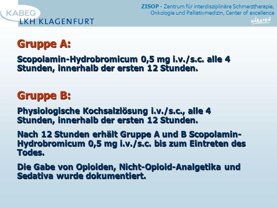 ZISOP - Zentrum für interdisziplinäre Schmerztherapie, Onkologie und Palliativmedizin, Center of excellence Gruppe A: Scopolamin-Hydrobromicum 0,5 mg i.v./s.c.