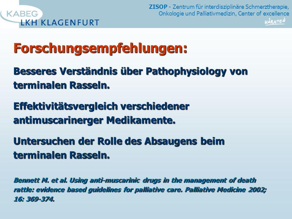 ZISOP - Zentrum für interdisziplinäre Schmerztherapie, Onkologie und Palliativmedizin, Center of excellence Forschungsempfehlungen: Besseres Verständnis über Pathophysiology von terminalen Rasseln.