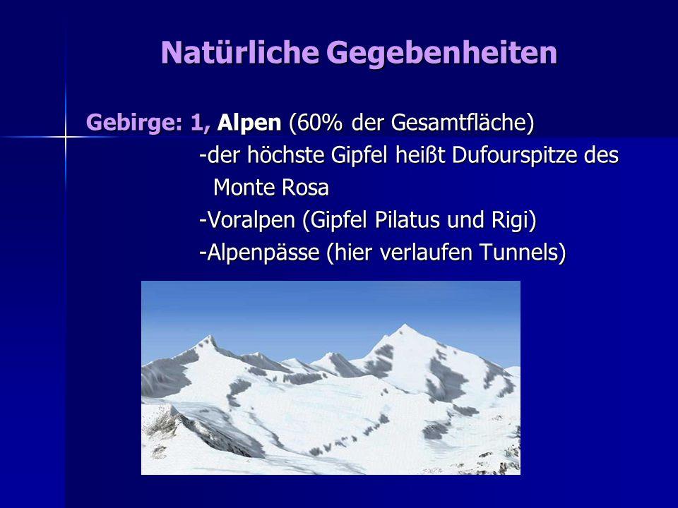 2, Mittelland (30 % der Gesamtfläche) 2, Mittelland (30 % der Gesamtfläche) - vom Bodensee bis zum Genfer See - vom Bodensee bis zum Genfer See 3, Schweizer Jura (10 % der Gesamtfläche) 3, Schweizer Jura (10 % der Gesamtfläche) - zahlreiche Karstgebieten - zahlreiche Karstgebieten