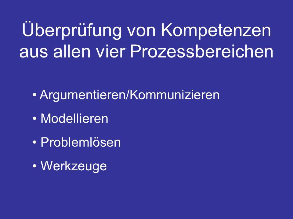 Überprüfung von Kompetenzen aus allen vier Prozessbereichen Argumentieren/Kommunizieren Modellieren Problemlösen Werkzeuge