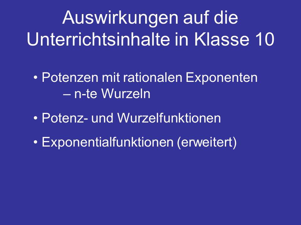 Auswirkungen auf die Unterrichtsinhalte in Klasse 10 Potenzen mit rationalen Exponenten – n-te Wurzeln Potenz- und Wurzelfunktionen Exponentialfunktio