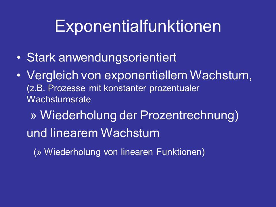 Exponentialfunktionen Stark anwendungsorientiert Vergleich von exponentiellem Wachstum, (z.B. Prozesse mit konstanter prozentualer Wachstumsrate » Wie
