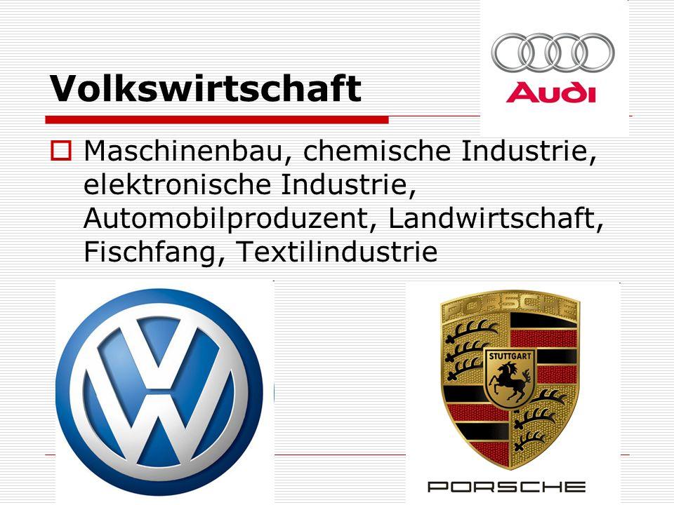 Volkswirtschaft Maschinenbau, chemische Industrie, elektronische Industrie, Automobilproduzent, Landwirtschaft, Fischfang, Textilindustrie