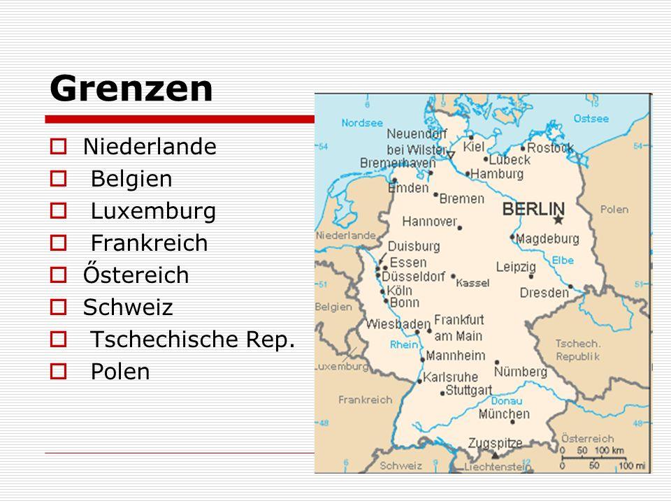 Oberfläche und Flüsse 4 Gebiete das Norddeutsche Tiefland das Deutsche Mittelgebirge das Alpenvorland Alpen Die Flüsse die Elbe, die Donau der Rhein (wichtigster, mündet in die Nordsee), Nebenflüsse- Neckar, Mein
