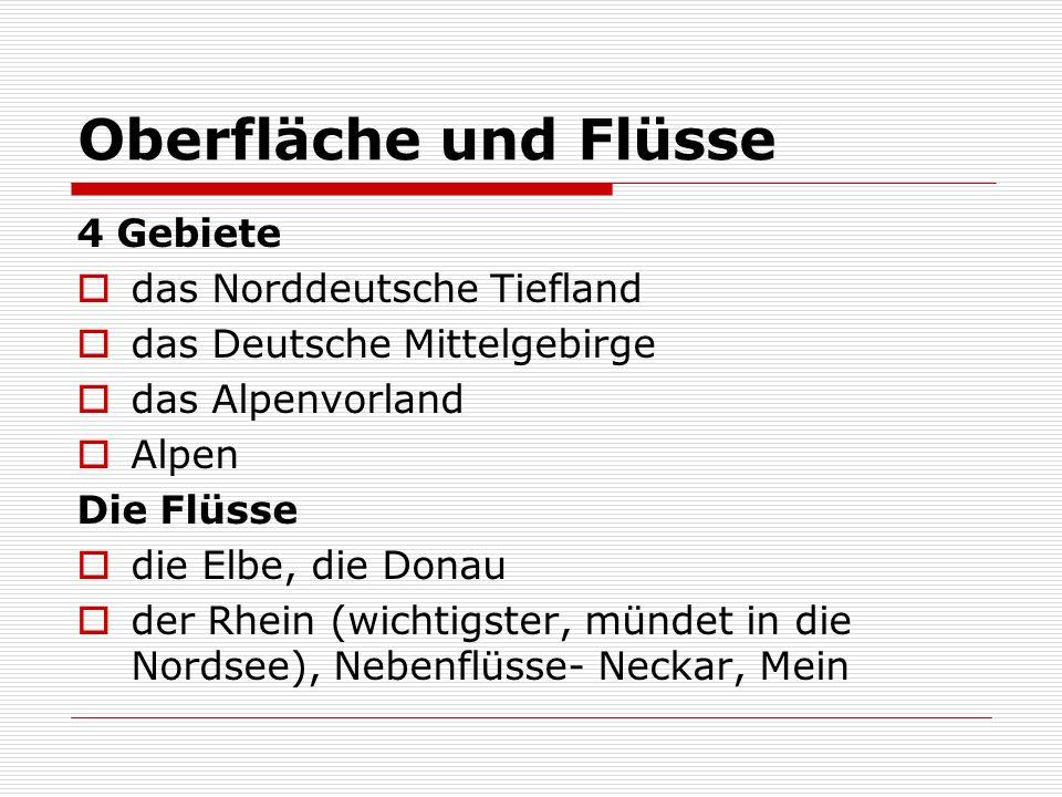 Oberfläche und Flüsse 4 Gebiete das Norddeutsche Tiefland das Deutsche Mittelgebirge das Alpenvorland Alpen Die Flüsse die Elbe, die Donau der Rhein (