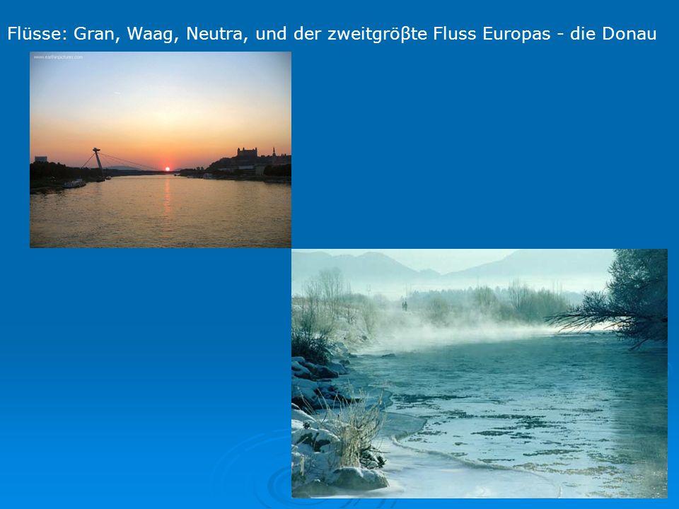 Flüsse: Gran, Waag, Neutra, und der zweitgröβte Fluss Europas - die Donau