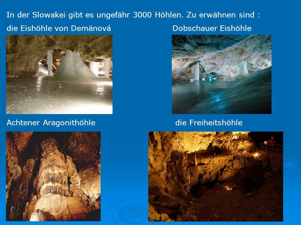 In der Slowakei gibt es ungefähr 3000 Höhlen. Zu erwähnen sind : die Eishöhle von Demänová Dobschauer Eishöhle Achtener Aragonithöhle die Freiheitshöh