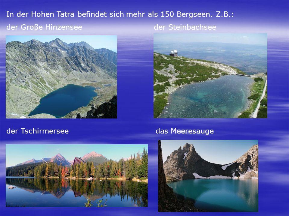 In der Hohen Tatra befindet sich mehr als 150 Bergseen. Z.B.: der Groβe Hinzensee der Steinbachsee der Tschirmersee das Meeresauge