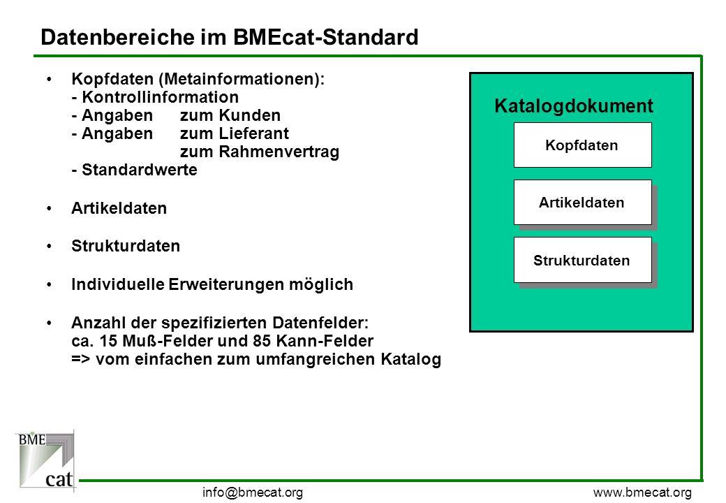 info@bmecat.org www.bmecat.org Datenbereiche im BMEcat-Standard Kopfdaten (Metainformationen): - Kontrollinformation - Angabenzum Kunden - Angabenzum