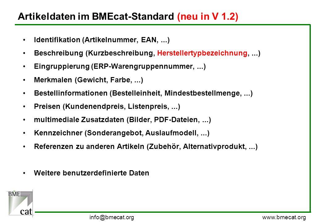 info@bmecat.org www.bmecat.org Artikeldaten im BMEcat-Standard (neu in V 1.2) Identifikation (Artikelnummer, EAN,...) Beschreibung (Kurzbeschreibung,