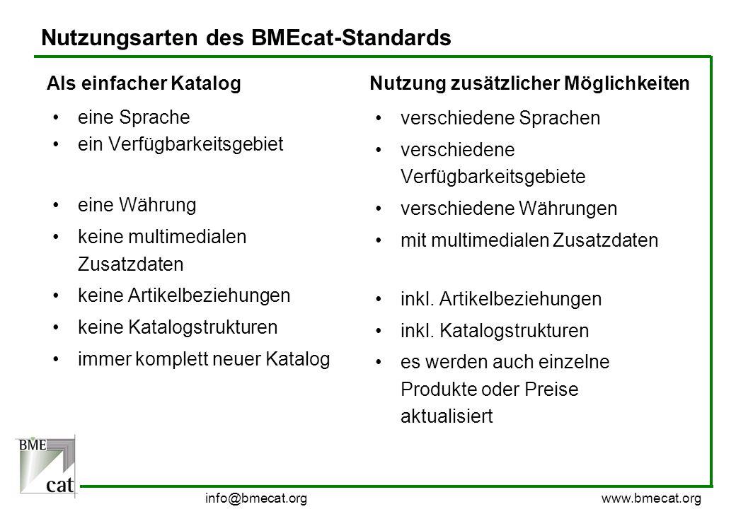 info@bmecat.org www.bmecat.org Nutzungsarten des BMEcat-Standards eine Sprache ein Verfügbarkeitsgebiet eine Währung keine multimedialen Zusatzdaten k