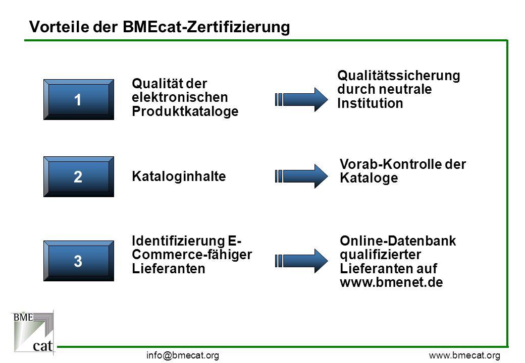 info@bmecat.org www.bmecat.org Vorteile der BMEcat-Zertifizierung 1 Qualität der elektronischen Produktkataloge Qualitätssicherung durch neutrale Inst