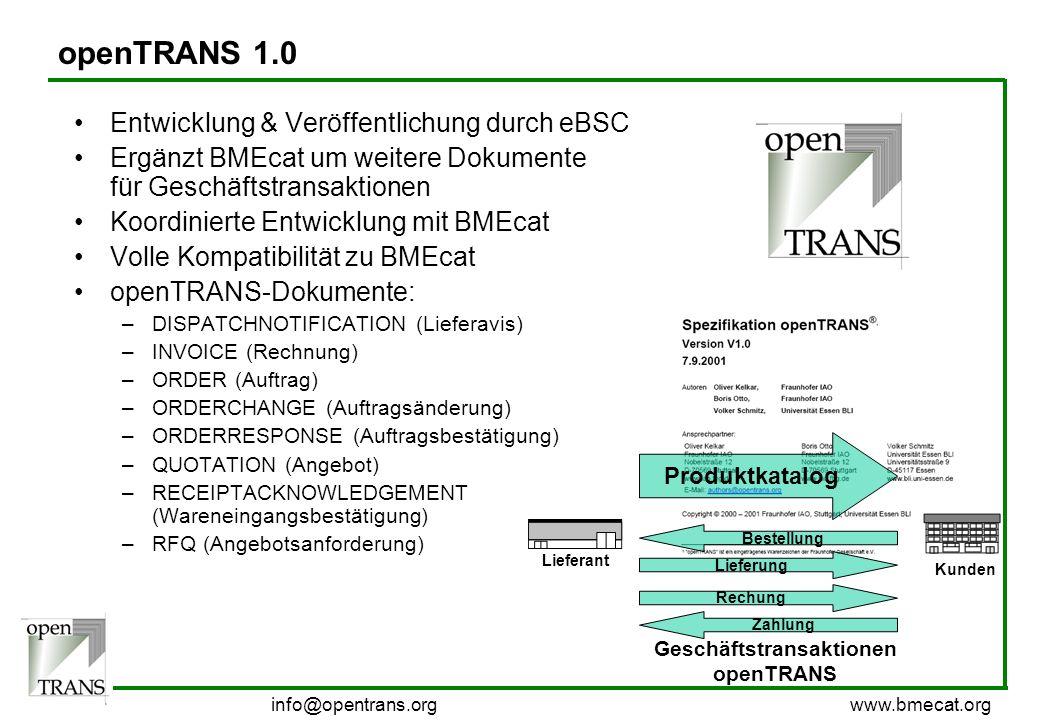info@bmecat.org www.bmecat.org openTRANS 1.0 Entwicklung & Veröffentlichung durch eBSC Ergänzt BMEcat um weitere Dokumente für Geschäftstransaktionen