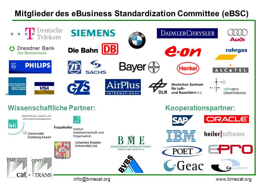 info@bmecat.org www.bmecat.org Mitglieder des eBusiness Standardization Committee (eBSC) Universität Duisburg-Essen Johannes Keppler Universität Linz