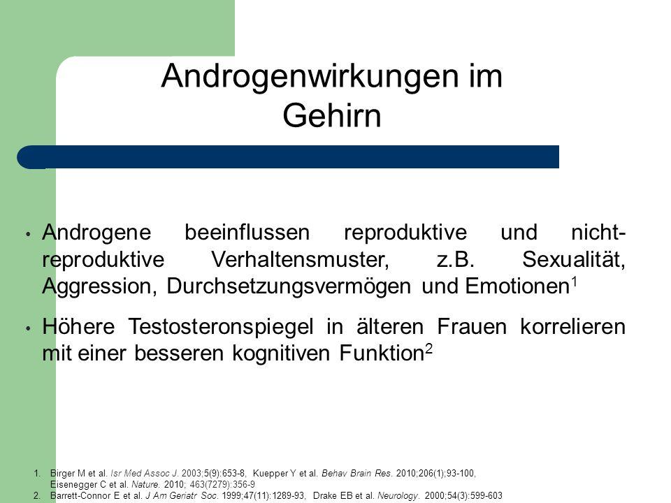 Androgenwirkungen im Gehirn Androgene beeinflussen reproduktive und nicht- reproduktive Verhaltensmuster, z.B. Sexualität, Aggression, Durchsetzungsve