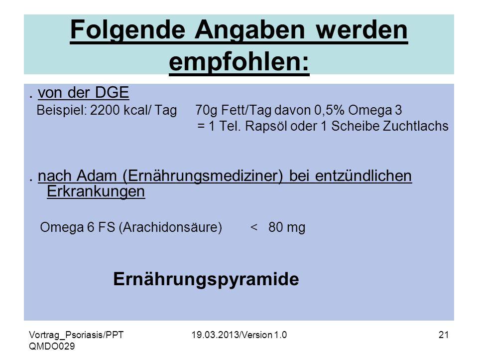 Vortrag_Psoriasis/PPT QMDO029 19.03.2013/Version 1.021 Folgende Angaben werden empfohlen:. von der DGE Beispiel: 2200 kcal/ Tag 70g Fett/Tag davon 0,5