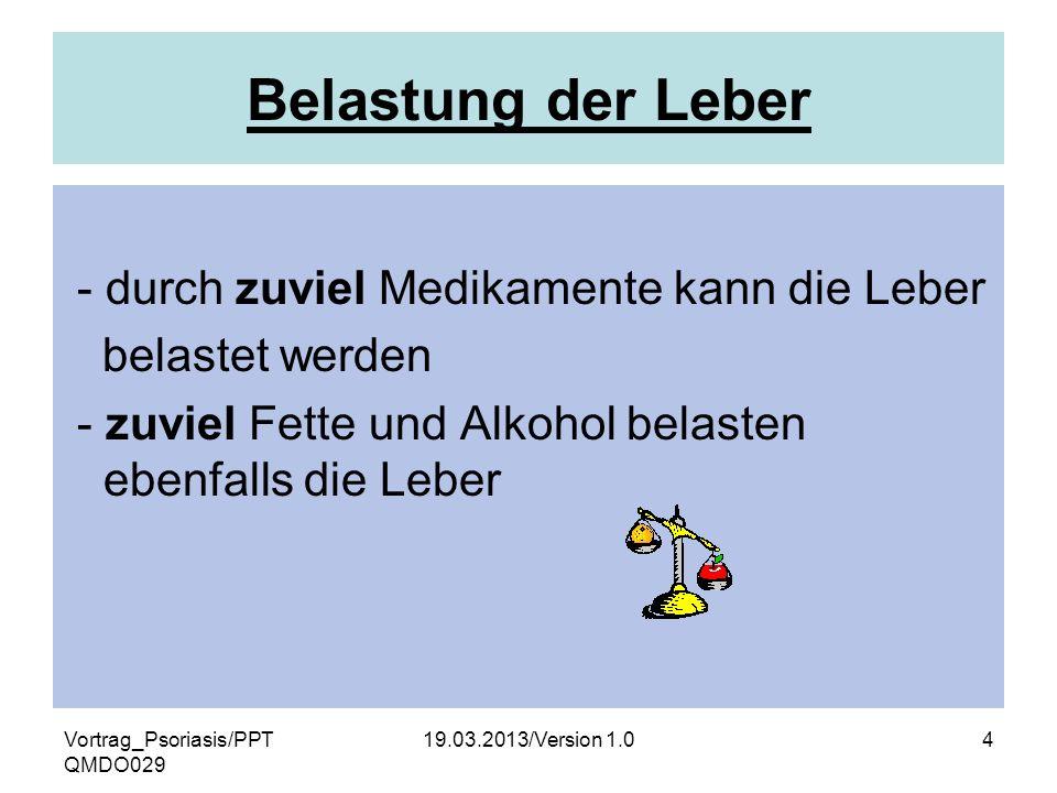 Vortrag_Psoriasis/PPT QMDO029 19.03.2013/Version 1.04 Belastung der Leber - durch zuviel Medikamente kann die Leber belastet werden - zuviel Fette und