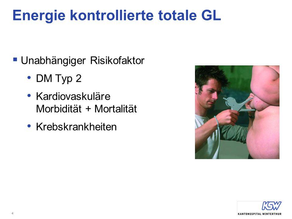 4 Energie kontrollierte totale GL Unabhängiger Risikofaktor DM Typ 2 Kardiovaskuläre Morbidität + Mortalität Krebskrankheiten