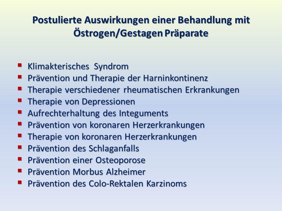 Postulierte Auswirkungen einer Behandlung mit Östrogen/Gestagen Präparate Klimakterisches Syndrom Klimakterisches Syndrom Prävention und Therapie der