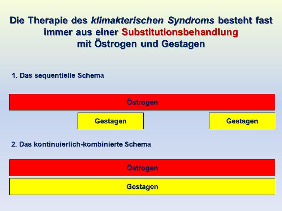 Die Therapie des klimakterischen Syndroms besteht fast immer aus einer Substitutionsbehandlung mit Östrogen und Gestagen Östrogen GestagenGestagen Öst