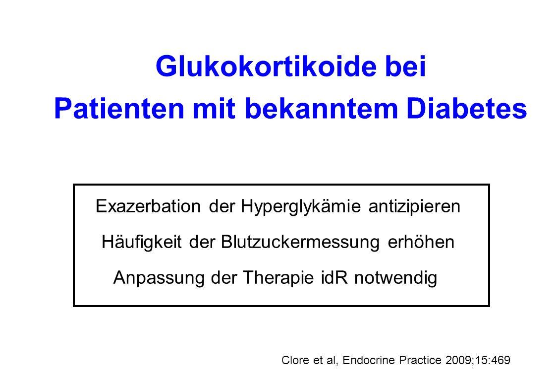 Zusammenfassung Steroiddiabetes = spezifischer Diabetestyp BZ-Messung bei Glukokortikoid-Therapie Nüchtern-BZ und HbA1c weniger aussagekräftig Therapie der Wahl bei Steroiddiabetes: Insulin Berücksichtigung der Pharmakodynamik der Steroide Gleichzeitige Dosisanpassung Steroide und Insulin