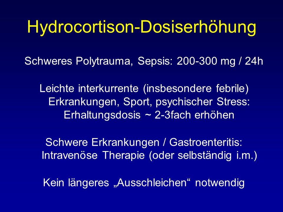 Hydrocortison-Dosiserhöhung Schweres Polytrauma, Sepsis: 200-300 mg / 24h Leichte interkurrente (insbesondere febrile) Erkrankungen, Sport, psychischer Stress: Erhaltungsdosis ~ 2-3fach erhöhen Schwere Erkrankungen / Gastroenteritis: Intravenöse Therapie (oder selbständig i.m.) Kein längeres Ausschleichen notwendig