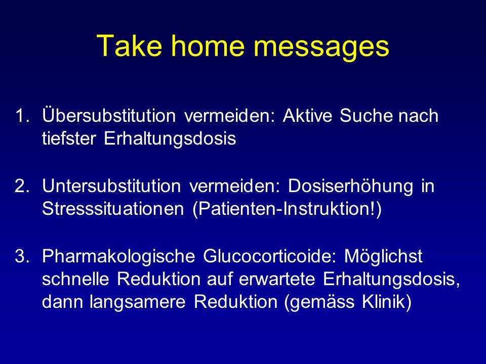 Take home messages 1.Übersubstitution vermeiden: Aktive Suche nach tiefster Erhaltungsdosis 2.Untersubstitution vermeiden: Dosiserhöhung in Stresssituationen (Patienten-Instruktion!) 3.Pharmakologische Glucocorticoide: Möglichst schnelle Reduktion auf erwartete Erhaltungsdosis, dann langsamere Reduktion (gemäss Klinik)
