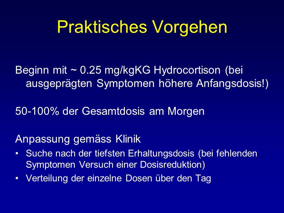 Praktisches Vorgehen Beginn mit ~ 0.25 mg/kgKG Hydrocortison (bei ausgeprägten Symptomen höhere Anfangsdosis!) 50-100% der Gesamtdosis am Morgen Anpas