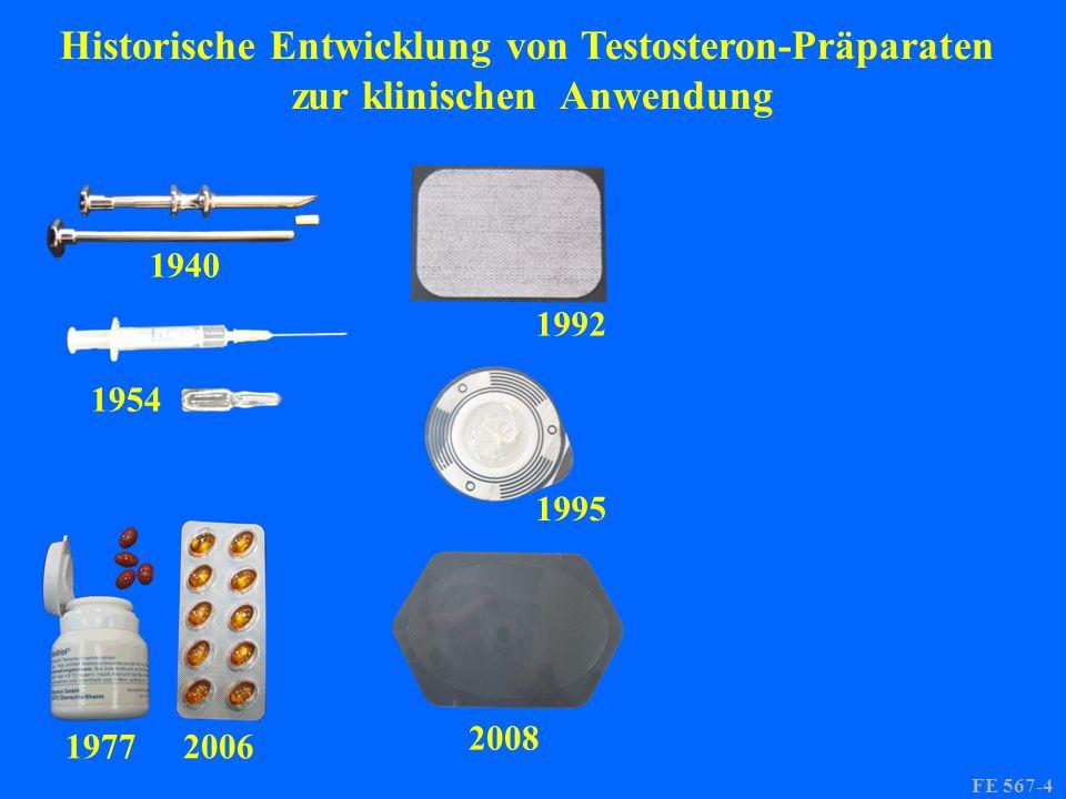1940 1954 19772006 1992 1995 2008 FE 567-4 Historische Entwicklung von Testosteron-Präparaten zur klinischen Anwendung