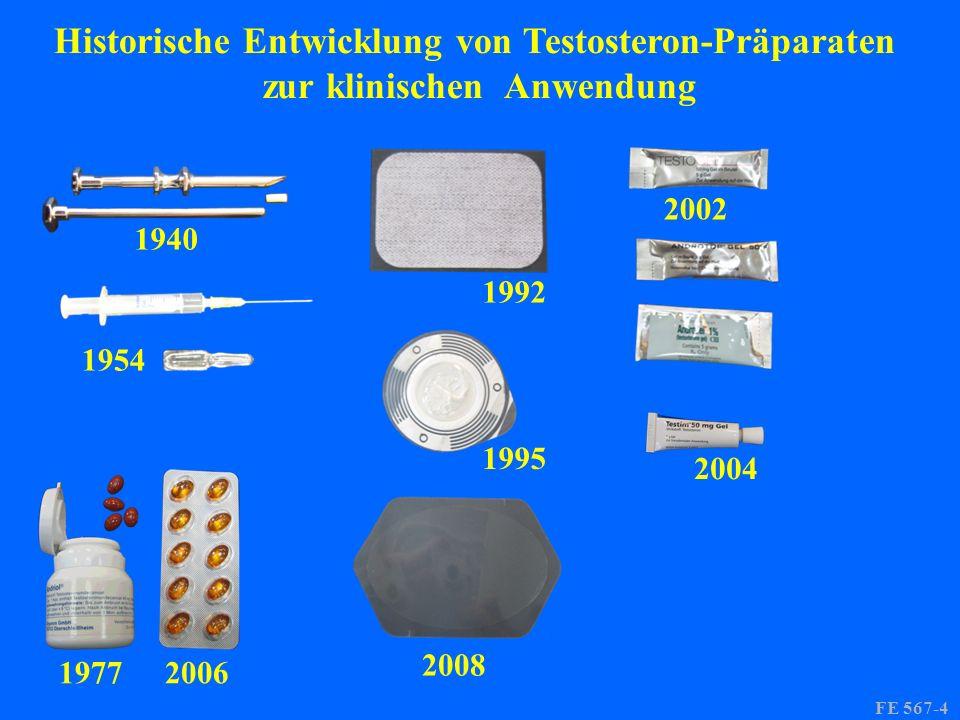 1940 1954 19772006 1992 1995 2008 2002 2004 FE 567-4 Historische Entwicklung von Testosteron-Präparaten zur klinischen Anwendung
