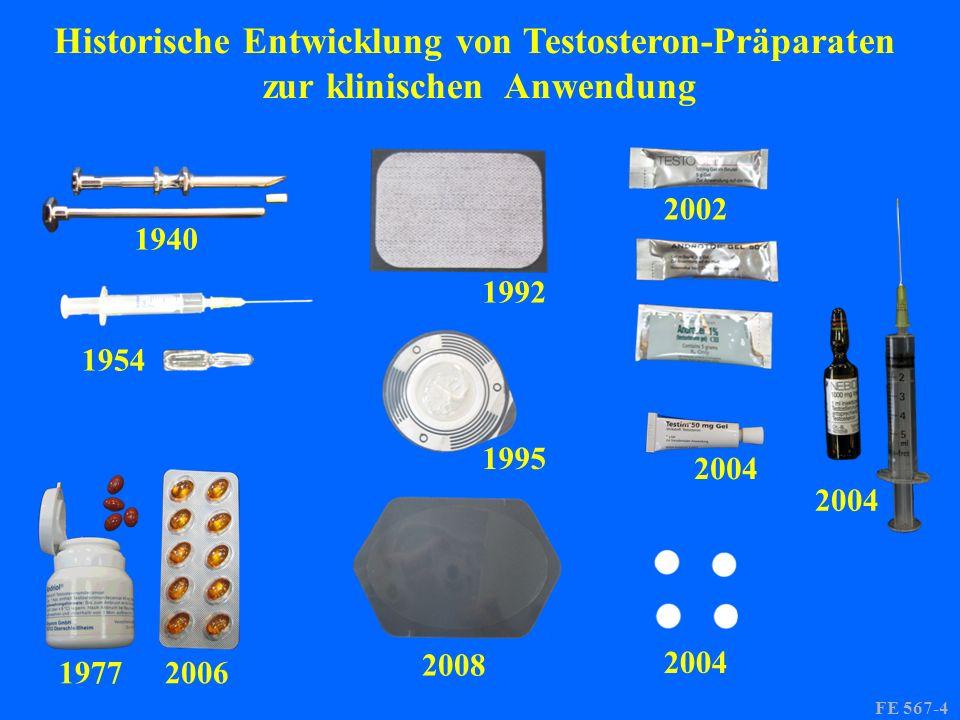 1940 1954 19772006 1992 1995 2008 2004 2002 2004 FE 567-4 Historische Entwicklung von Testosteron-Präparaten zur klinischen Anwendung