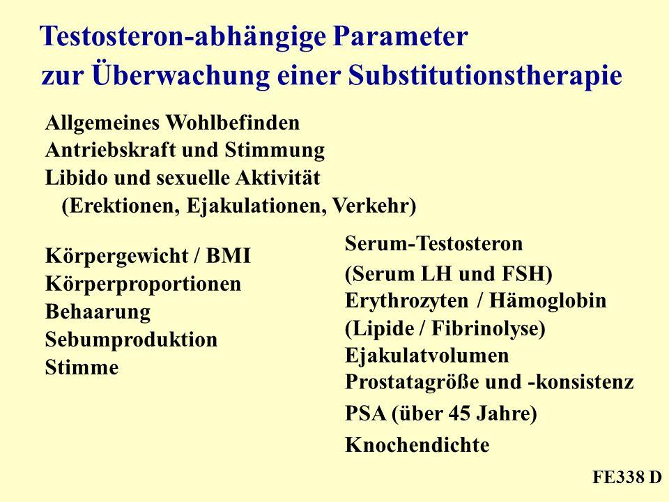 Testosteron-abhängige Parameter zur Überwachung einer Substitutionstherapie Allgemeines Wohlbefinden Antriebskraft und Stimmung Libido und sexuelle Ak