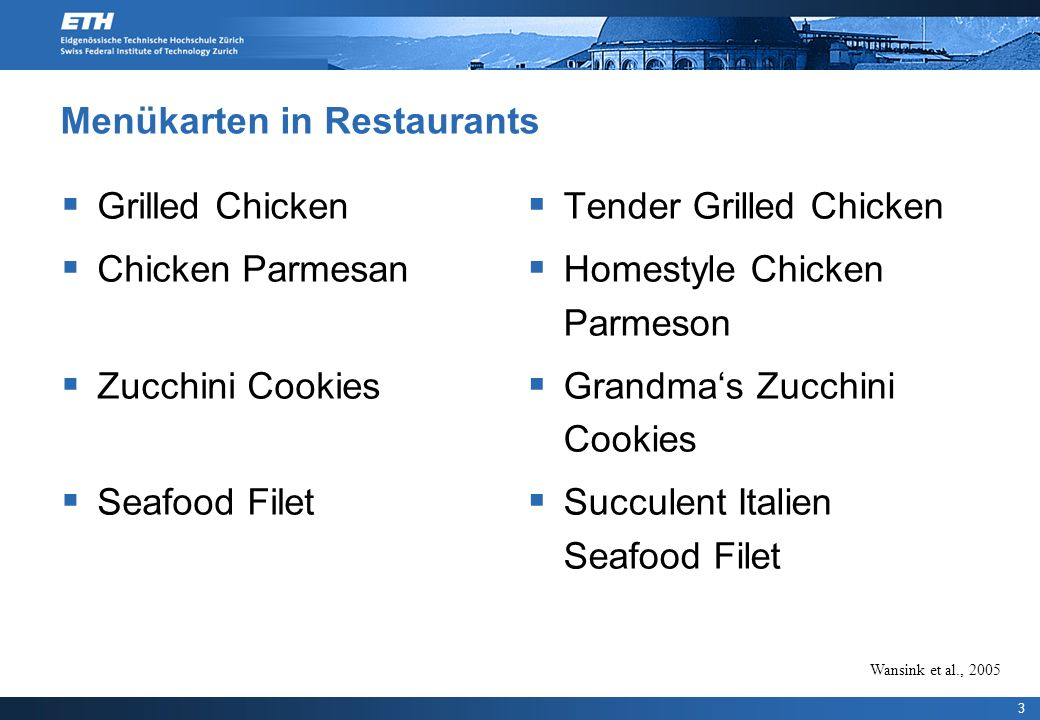 Menükarten in Restaurants Grilled Chicken Chicken Parmesan Zucchini Cookies Seafood Filet Tender Grilled Chicken Homestyle Chicken Parmeson Grandmas Zucchini Cookies Succulent Italien Seafood Filet 3 Wansink et al., 2005