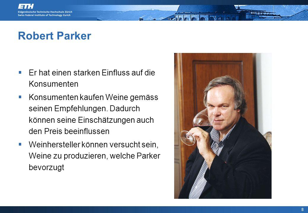 8 Robert Parker Er hat einen starken Einfluss auf die Konsumenten Konsumenten kaufen Weine gemäss seinen Empfehlungen. Dadurch können seine Einschätzu