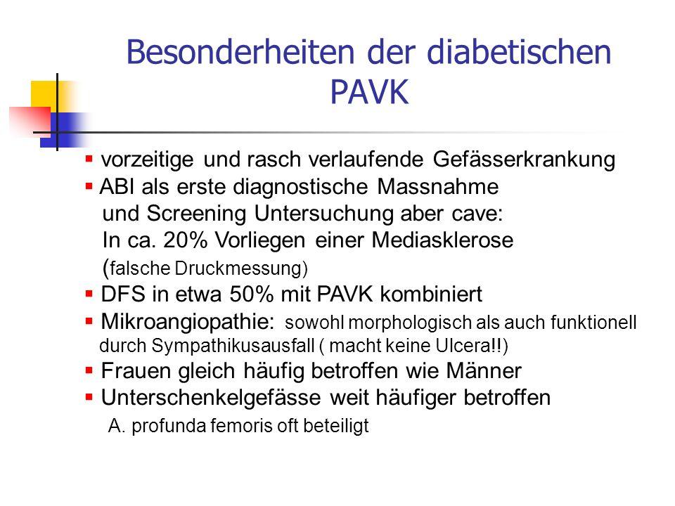PAVK Invasive Therapie operative Revaskularisation senkt Zahl der Major Amputationen Resultate bei Dm und Nicht Dm vergleichbar PTA und OP Resultate vergleichbar vor jeder Amputation mögliche Gefässchirurgie abklären keine Evidenz für durchblutungsfördernde Mittel mögliche günstige Begleiteffekte durch ASS, Dalteparin, Fibrate, Statine wenig Evidenz für Hyperbare Sauerstofftherapie