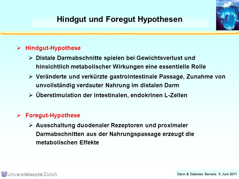 Darm & Diabetes Berneis 9. Juni 2011 Universitätsspital Zürich Hindgut und Foregut Hypothesen Hindgut-Hypothese Distale Darmabschnitte spielen bei Gew