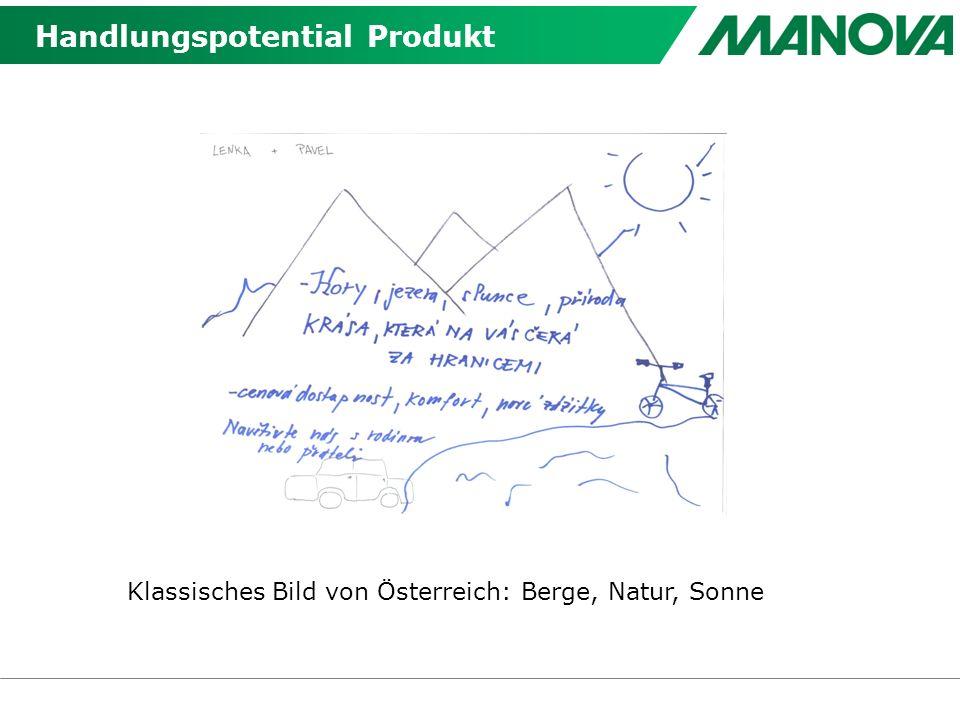 Handlungspotential Produkt Klassisches Bild von Österreich: Berge, Natur, Sonne