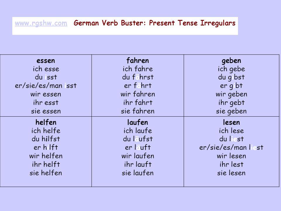 BERFAU PRESENNOL AFREOLAIDD Rwan, ewch ar safler Adran Almaeneg a gwneud yr ymarferion yn http://www.rgshw.com/ Now go to Languages online German Year