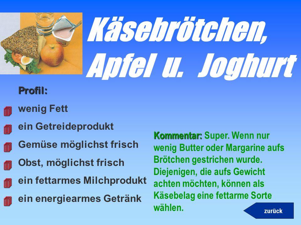 Döner- kebabProfil: wenig Fett ein Getreideprodukt Gemüse möglichst frisch Obst, möglichst frisch ein fettarmes Milchprodukt ein energiearmes Getränk