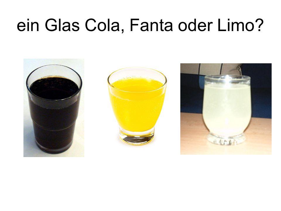 ein Glas Cola, Fanta oder Limo