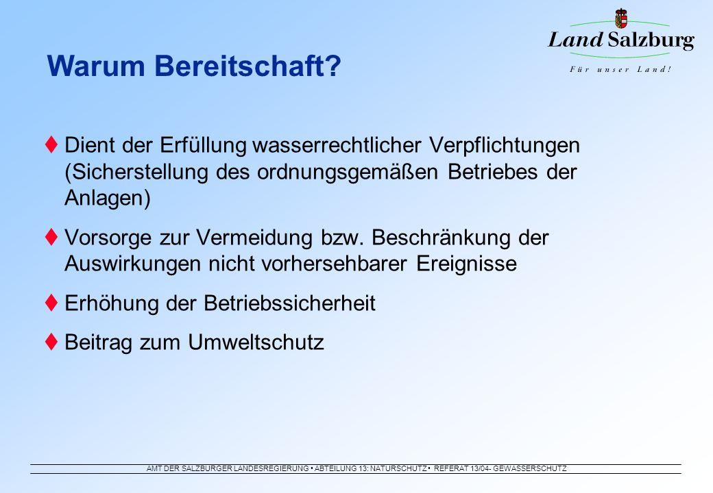 AMT DER SALZBURGER LANDESREGIERUNG ABTEILUNG 13: NATURSCHUTZ REFERAT 13/04- GEWÄSSERSCHUTZ Dient der Erfüllung wasserrechtlicher Verpflichtungen (Sich